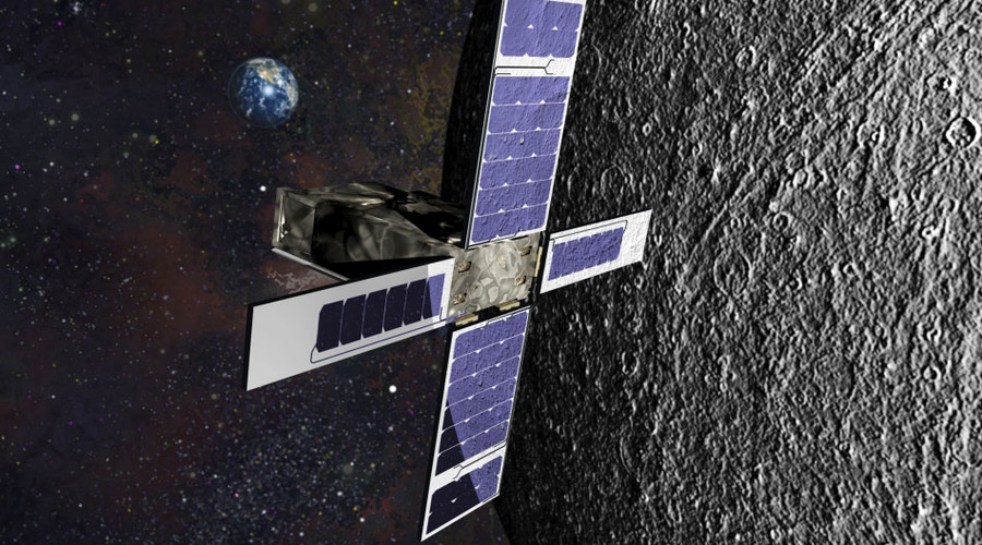 Artistic rendering of the SkyFire cubesat orbiting the moon © lockheedmartin.com