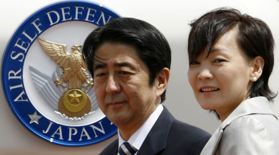 Japanese Prime Minister Shinzo Abe (L) and his wife Akie. File photo. © Toru Hanai