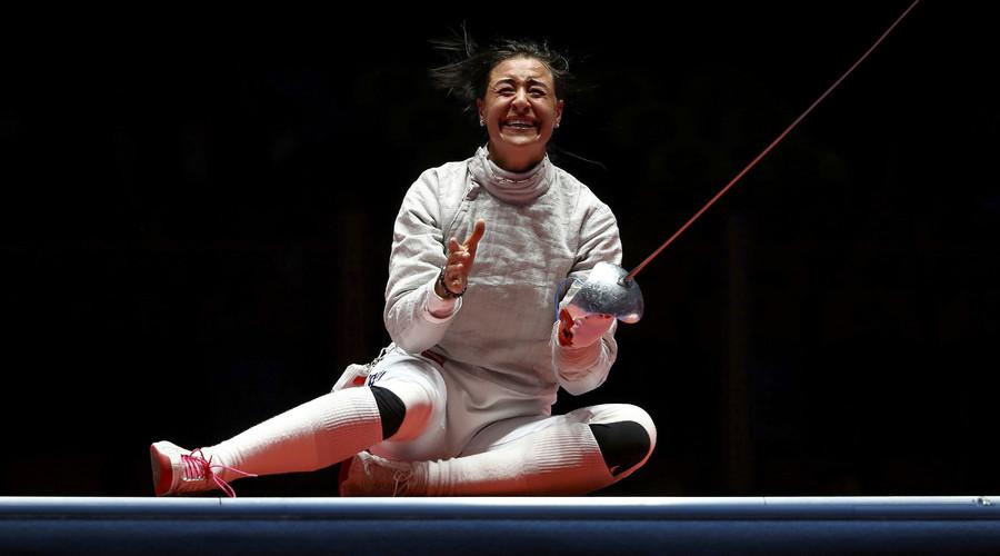 Yana Egorian of Russia celebrates winning the match. © Lucy Nicholson
