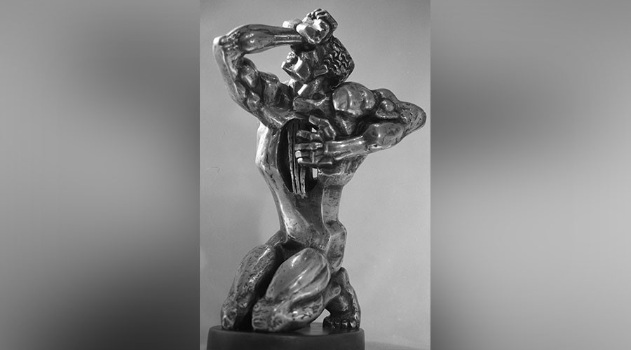 Figurine by sculptor Ernst Neizvestny among those presented during TEFI awards ceremony held by the Academy of Russian Television. © Yuriy Somov
