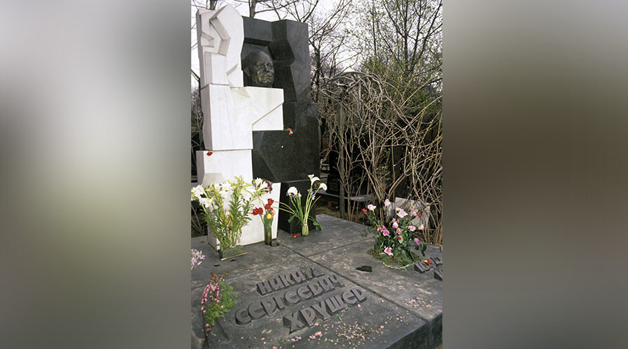 Graveside monument to Soviet government and party leader Nikita Khrushchev (1894-1971) at the Novodevichye Cemetery. © Vladimir Vyatkin