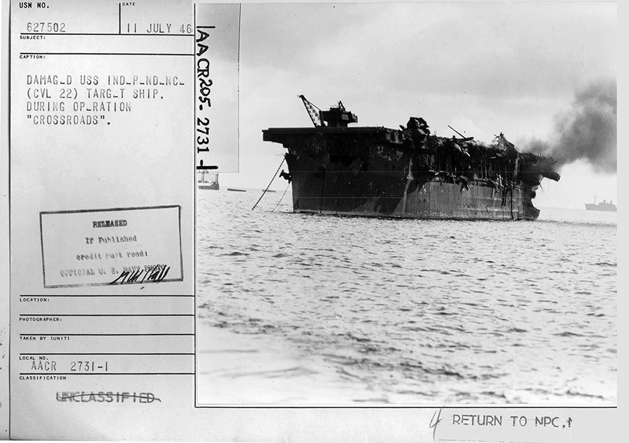 Damaged USS Independence (CVL 22) target ship from the Able test. © nsarchive.gwu.ed
