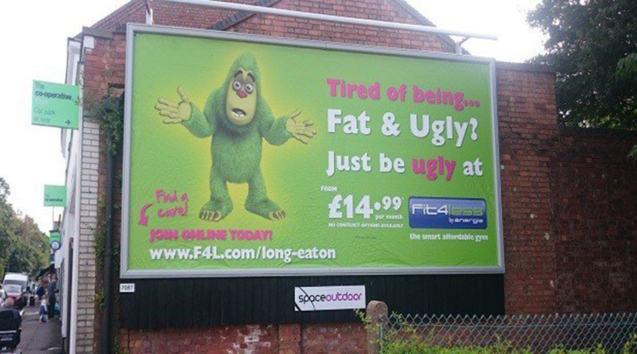 'Fat & ugly' gym poster promotes bullying, say critics