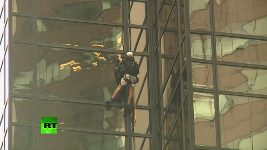 Daredevil climbs Trump Tower with suction cups