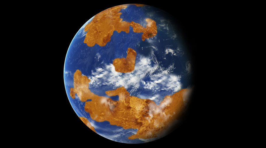 Observations suggest Venus may have had water oceans in its distant past. A land-ocean pattern like that above was used in a climate model to show how storm clouds could have shielded ancient Venus from strong sunlight and made the planet habitable. © NASA