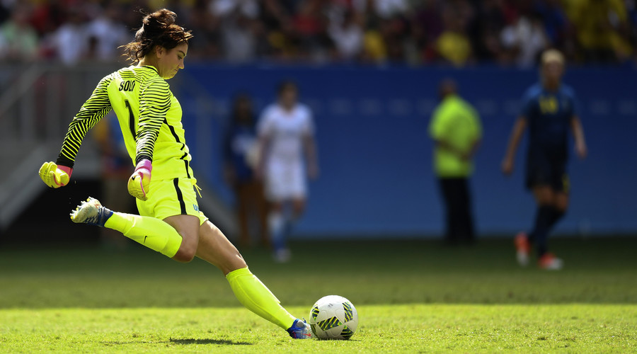 US goalkeeper Hope Solo prepares to kick the ball during the Rio 2016 Olympic Games Quarter-finals women's football match USA vs Sweden, at the Mane Garrincha Stadium in Brasilia on August 12, 2016. © Evaristo Sa