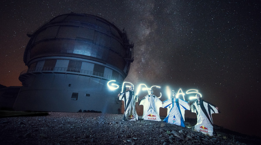 Joakim Sommer (NOR), Georg Lettner (AUT), Marco Waltenspiel (AUT) and Armando Del Rey (ESP) posing for a team shot at Astrosports - Meteor Showers on La Palma, Spain on 10th of July, 2016. © Markus Berger / Red Bull Content Pool / Reuters