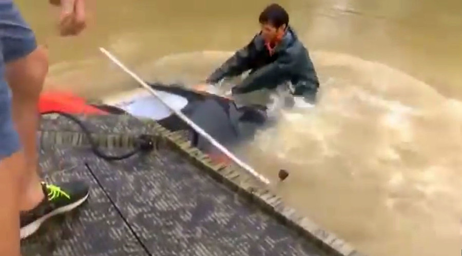 'We're coming!': Baton Rouge rescuers race to woman & dog drowning in submerged car (VIDEO)