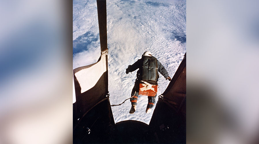 An automatic camera captured Joseph Kittinger just as he stepped from the balloon-supported Excelsior Gondola on Aug. 16, 1960, at an altitude of 102,800 feet. © U.S. Air Force