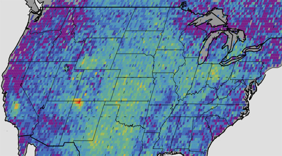 This map shows anomalous U.S. methane emissions (or how much the emissions differ from average background concentrations) for 2003 to 2009, as measured by the European Space Agency's SCIAMACHY instrument. © NASA /J PL-Caltech / University of Michigan