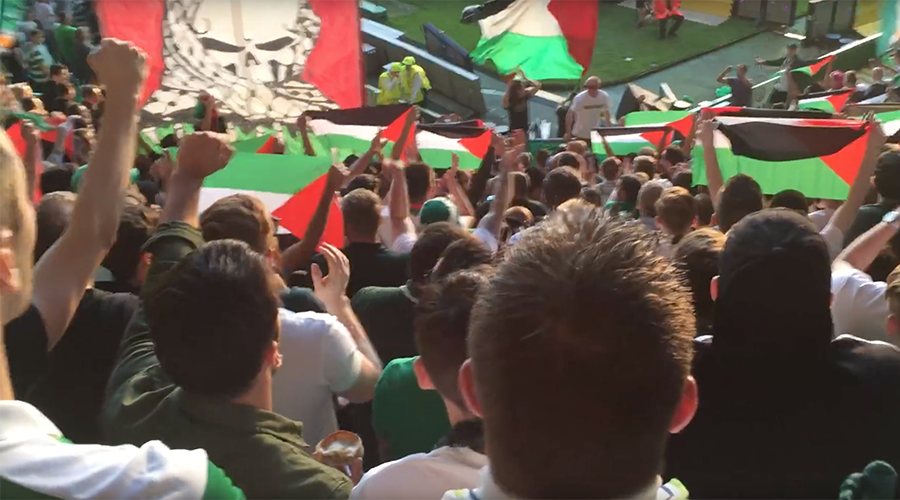 Celtic fans defy UEFA ban to fly sea of Palestine flags in match against Israelis (PHOTOS, VIDEO)
