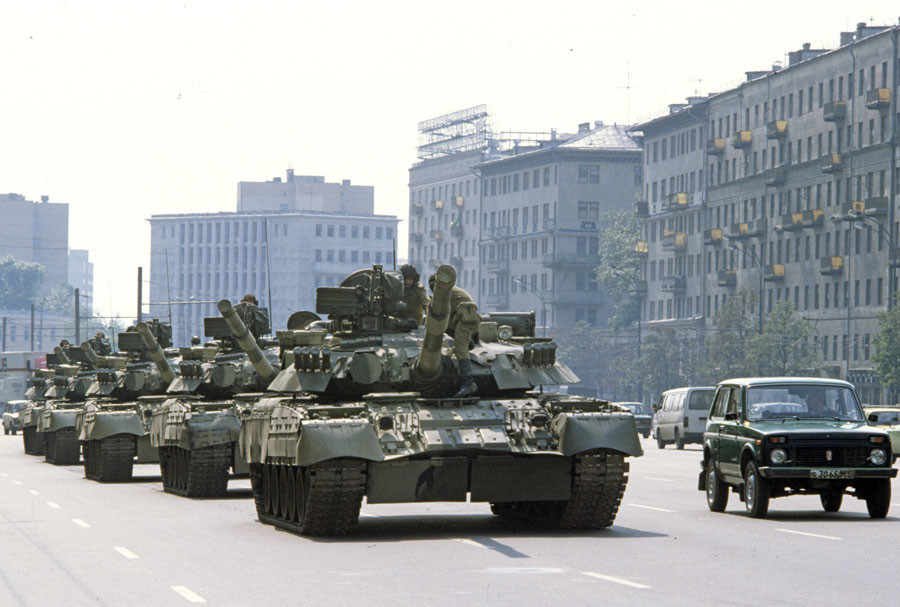 On August 19, 1991, a state of emergency was declared in Moscow and troops brought in to the city. Tanks on Moscow streets. © Sergey Subbotin