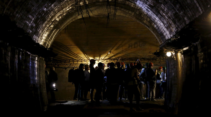 "Journalists visit underground tunnels, which are part of the Nazi Germany ""Riese"" construction project, under the Ksiaz castle in an area where a Nazi train is believed to be, in Walbrzych, southwestern Poland. File photo. © Kacper Pempel"