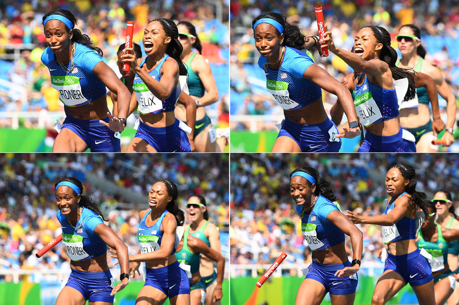 Combination photo shows USA's Allyson Felix failing to hand the baton to USA's English Gardner competes in the Women's 4 x 100m Relay Round 1 during the athletics event at the Rio 2016 Olympic Games at the Olympic Stadium in Rio de Janeiro on August 18, 2016. © Franck Fife