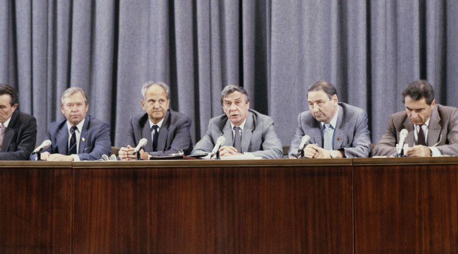 From left: Alexander Tizyakov, Vasily Starodubtsev, Boris Pugo, Gennady Yanayev, and Oleg Baklanov during the press conference of the State of Emergency State Committee (GKCP) members at the USSR Foreign Ministry.© Vladimir Rodionov