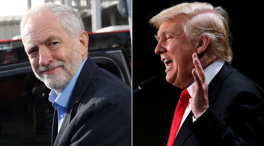 Britain's opposition Labour Party leader Jeremy Corbyn, Republican presidential nominee Donald Trump © Neil Hall, Carlo Allegri