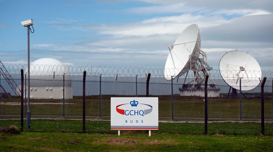 Satellite dishes are seen at GCHQ's outpost at Bude, close to where trans-Atlantic fibre-optic cables come ashore in Cornwall, southwest England © Kieran Doherty