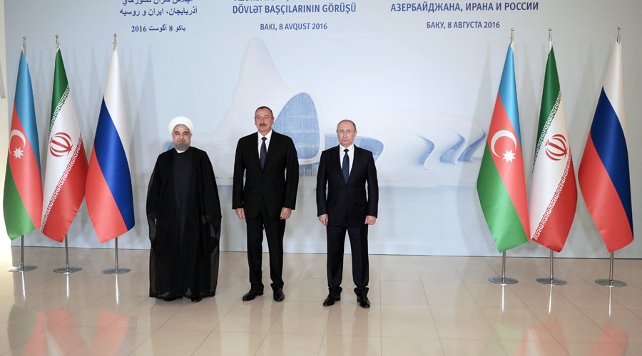 August 8, 2016. From right: Russian President Vladimir Putin, President of the Republic of Azerbaijan Ilham Aliyev and President of the Islamic Republic of Iran Hassan Rouhani before a trilateral meeting at the Heydar Aliyev Center in Baku. © Aleksey Nikolskyi
