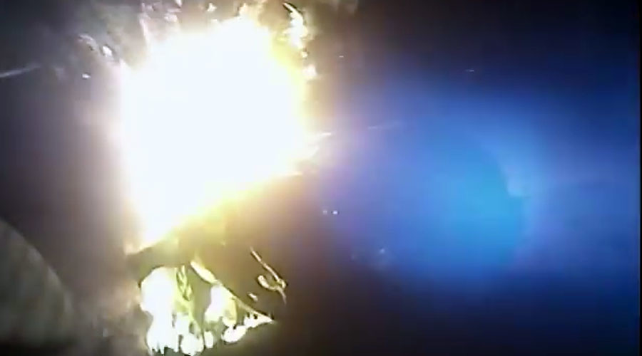 Shocking bodycam footage shows cop pull passenger from car inferno (VIDEO)