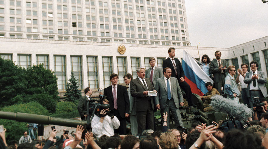 Russia's President Boris Yeltsin, 2nd left, addresses the public in front of the Russian Council of Minister premises during the August 1991 coup © RIA Novosti
