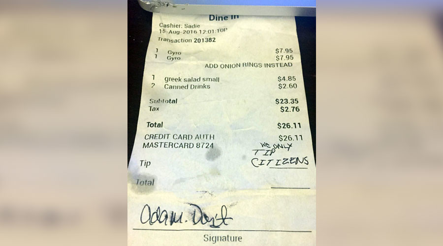 Couple leaves nasty note for Virginia waitress; community rallies behind her
