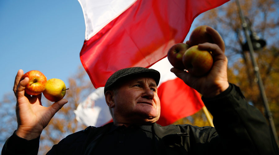 A man holds up apples as he takes part in the growers' protest in front of the Prime Minister's Chancellery November 4, 2014. The fruit growers were protesting against the lack of sufficient aid from the Polish government after a Russian embargo on their products was imposed. © Kacper Pempel