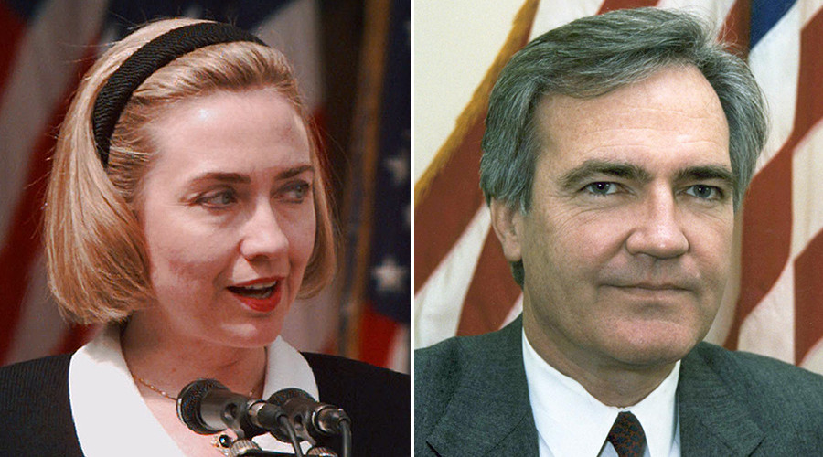 FILE PHOTO: Hillary Clinton (L) and Vince Foster © Reuters