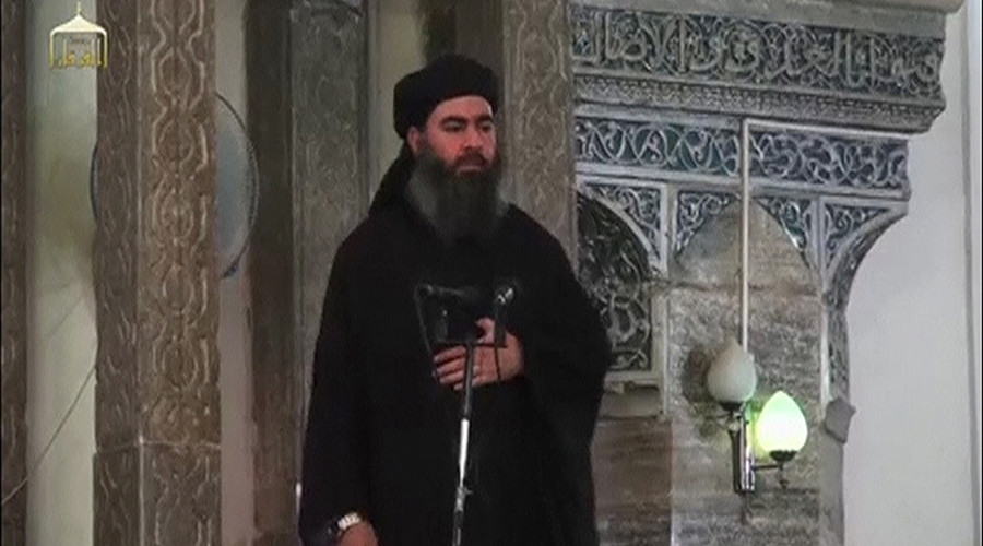 Still image taken from video of a man purported to be the reclusive leader of the militant Islamic State Abu Bakr al-Baghdadi making what would be his first public appearance at a mosque in Mosul © Reuters