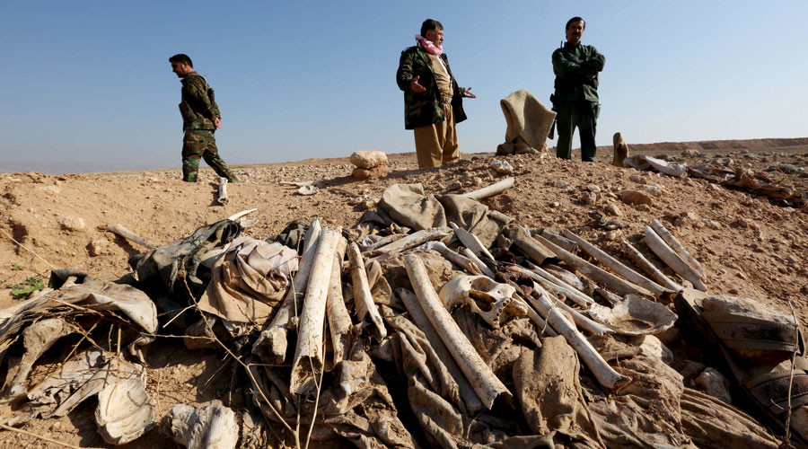 Bones, suspected to belong to members of Iraq's Yazidi community, are seen in a mass grave on the outskirts of the town of Sinjar, November 30, 2015 © Ari Jalal