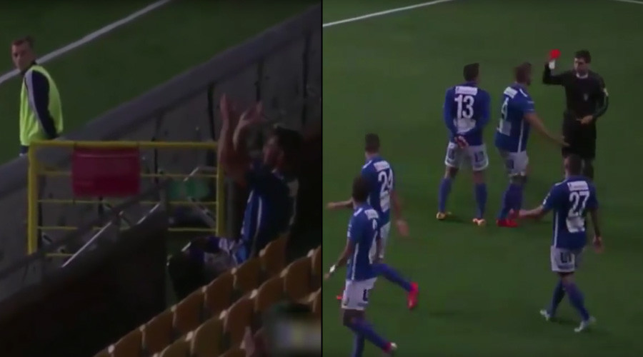 Footballer sent off for applauding self from stands after bagging hat-trick (VIDEO)