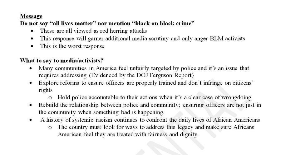 Screenshot of the DCCC's Black Lives Matter memo