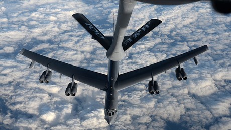 A KC-135 Stratotanker from RAF Mildenhall, England, refuels a B-52 Stratofortress from Minot Air Force Base, North Dakota, in support of Operation Polar Roar over Scotland, Aug. 1, 2016 © © U.S. Air Force photo by Staff Sgt. Kate Thornton