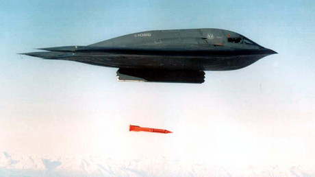 A B-2 Spirit Bomber from Whiteman Air Force Base, Missouri, drops a B61-11