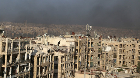 A general view shows rising smoke from burning tyres, which activists said are used to create smoke cover from warplanes, in Aleppo, Syria August 1, 2016  Abdalrhman Ismail