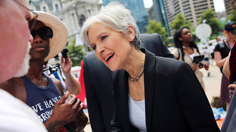 Green Party presidential candidate Jill Stein arrives at a rally of Bernie Sanders's supporters on the second day of the Democratic National Convention in Philadelphia, Pennsylvania, U.S., July 26, 2016. © Dominick Reuter