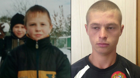 Vasily at 6, and after being found last month © Interior Ministry
