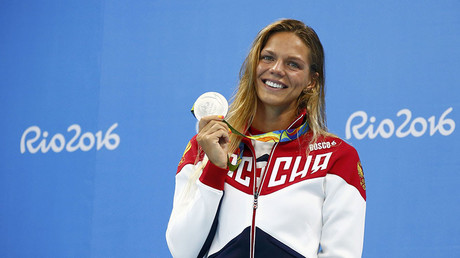 Yulia Efimova (RUS) of Russia poses with her silver medal. © David Gray