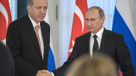 August 9, 2016. President of Russia Vladimir Putin (right) and President of Turkey Recep Tayyip Erdogan at the news conference following the Russian-Turkish talks in the Konstantinovsky Palace. © Sergey Guneev
