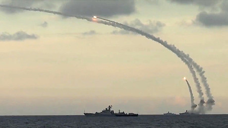 Russia's Caspian Fleet launches a massive attack involving 18 Kalibr-NK cruise missiles on 7 terrorist positions in the Syrian provinces of al-Raqqah, Idlib and Aleppo. © Ministry of defence of the Russian Federation
