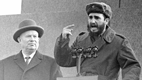 Soviet Communist Party First Secretary Nikita Khrushchev (left) and Cuban Prime Minister Fidel Castro (right) on the Mausoleum attending a rally to mark Castro's arrival in the USSR. Castro was the first foreign leader to stand on the tribune of Lenin's mausoleum in Red Square. © Yuryi Abramochkin