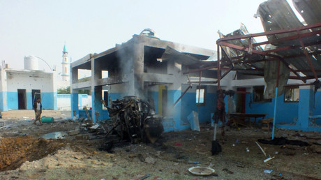 The site of a Saudi-led air strike on a hospital in Abs district in the northern province of Hajja, Yemen August 15, 2016. © Stringer