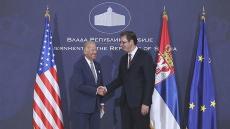 Vice President Joe Biden and Serbia`s Prime Minister Aleksandar Vucic shake hands during their meeting in Belgrade, Serbia, August 16, 2016. © Djordje Kojadinovic