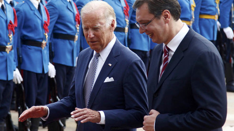 U.S. Vice President Joe Biden (L) taks to Serbia's Prime Minister Aleksandar Vucic during welcome ceremony in Belgrade, Serbia, August 16, 2016. © Djordje Kojadinovic
