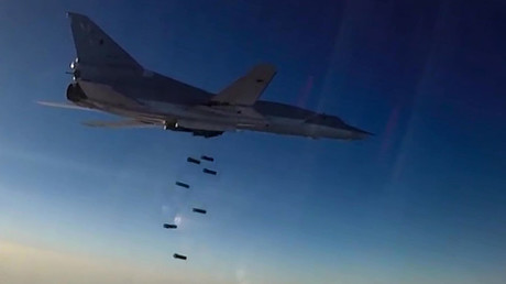 A Tupolev Tu-22M3 Backfire long-range bomber hits ISIS targets in Syria's Aleppo, Deir Ez Zor and Idlib governorates © Russian Defense Ministry