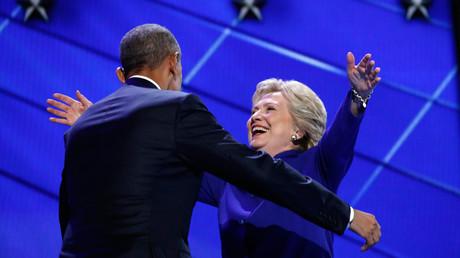 Democratic presidential nominee Hillary Clinton greets U.S. President Barack Obama © Jim Young