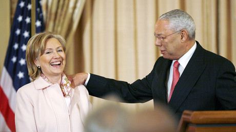 Former U.S. Secretary of State Colin Powell with Democratic presidential nominee Hillary Clinton (L). File photo. © Hyungwon Kang