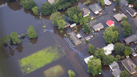 Contaminated floodwaters impact a neighborhood as seen in an aerial view in Sorrento, Louisiana, U.S. August 17, 2016. © Louisiana Environmental Action Network