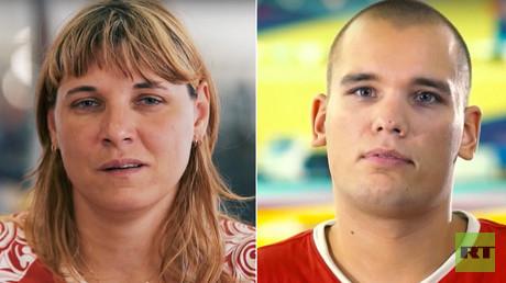 Russian Paralympic athletes: Elena Gorlova (L), Dmitry Kokarev (R)