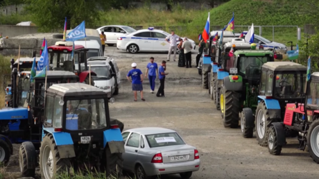 Participants of the 'tractor rally' protest at the start of their voyage in Krasnodar Region © Проект РЕАЛЬНОСТЬ