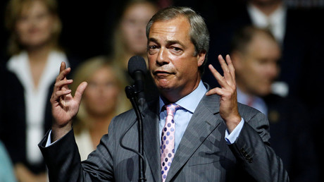 European Parliament Nigel Farage speaks during a Republican presidential nominee Donald Trump campaign rally in Jackson, Mississippi, U.S., August 24, 2016. © Carlo Allegri